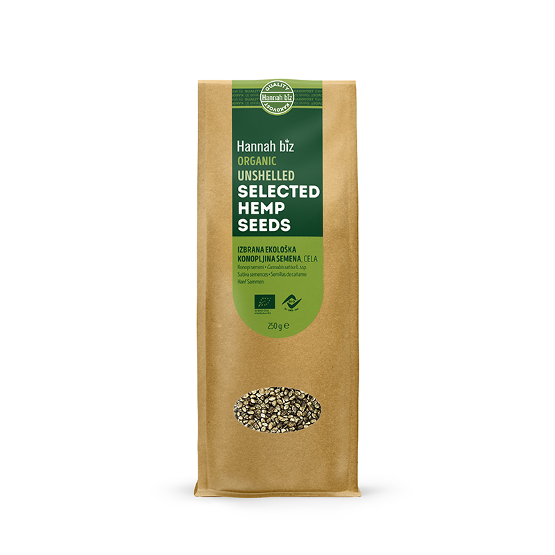 Organic selected hemp seeds, unshelled – 250g